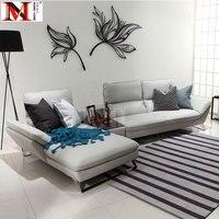 Корова реальный кожаный диван секционные гостиная диван углу дома мебель диван L формы функциональной спинки и нержавеющая сталь ног