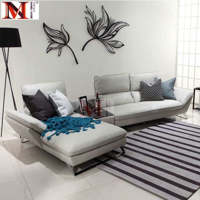 cow real leather sofa sectional living room sofa corner home furniture couch L shape functional backrest and stainless steel leg morden sofa leather corner sofa livingroom furniture corner sofa factory export wholesale c59
