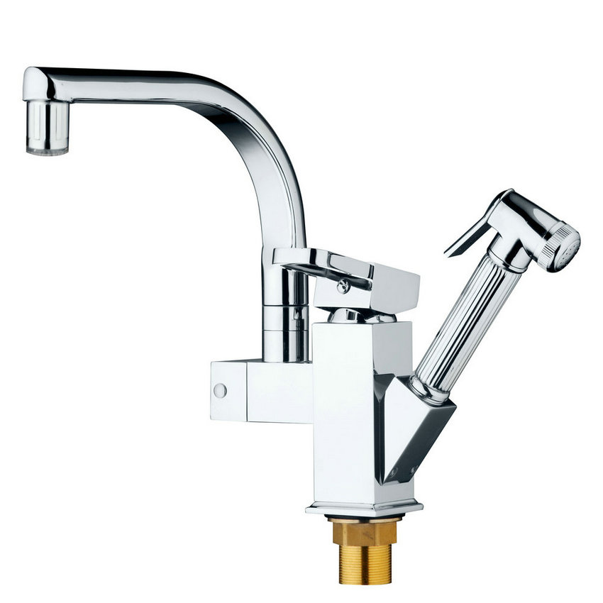 LED Deck Mounted Pull Out Kitchen Faucet Chrome Finish Mixer Tap Single Handle Dual Sprayer Mixer ORB Polish Chrome Nickel Brush luxury pull out chrome brushed nickel finish kitchen faucet mixer single hole deck mounted