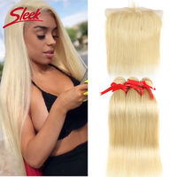 Sleek Colorful Hair Mink Blonde 613 Bundles With Lace Frontal Brazilian Body Wave2 3 4 Bundles With Frontal Remy Hair Extension