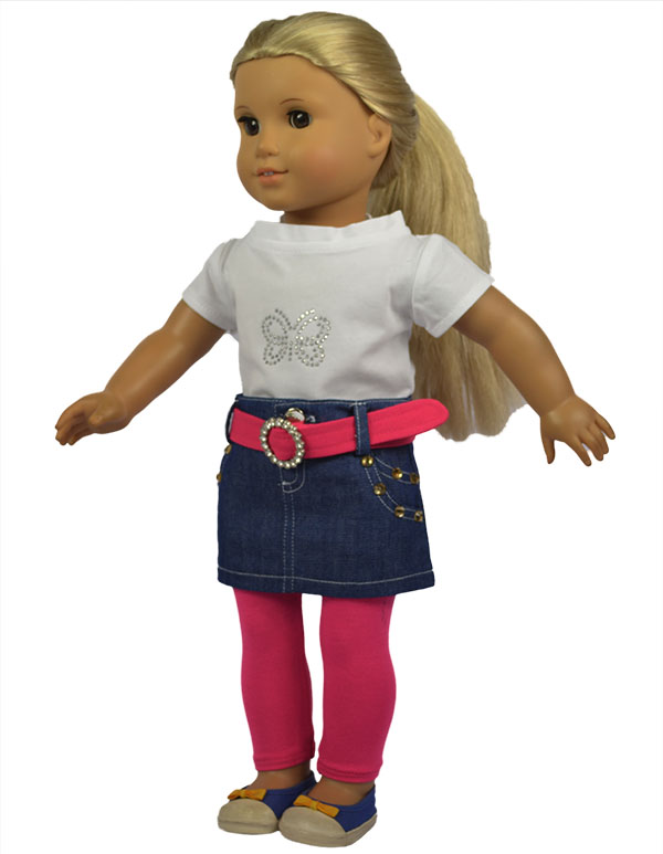 4in 1 Set American Girl Doll Clothes of Shirt+Jeans Skirt+Belt+Leggings for 18 American Girl Doll and Other 18 Girl Dolls ...