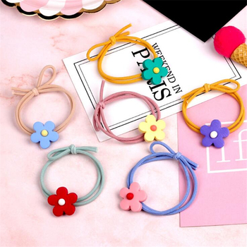 1 pc Korean Style Flower Candy Color Sweet Elastic Hair Bands Scrunchies Female Chic Headwear Ponytail Holder Hair Accessories image