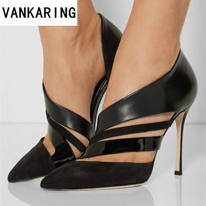 คลาสสิกสีดำรองเท้าผู้หญิงฤดูร้อนเซ็กซี่ตัด nude รองเท้าส้นสูงงานแต่งงานรองเท้าแฟชั่น pointed toe รองเท้าแตะหญิง