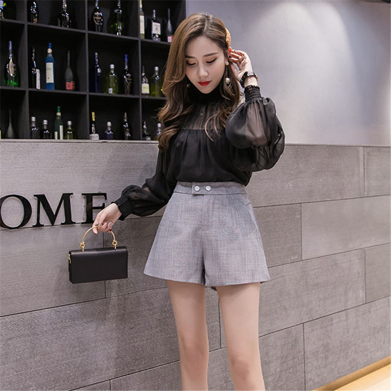 2019 Spring New Shorts Female Fashion Solid Color Wide Legs Wild High Waist Slim Slimming Women Shorts Summer Wide leg short Y33