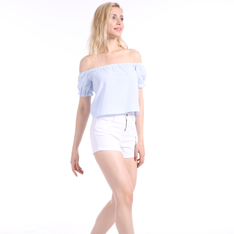 Sexy Off Shoulder Club T-shirt Solid Color Striped Slash Neck Short New Arrival Summer Top Sweet Beach Shirt Tee