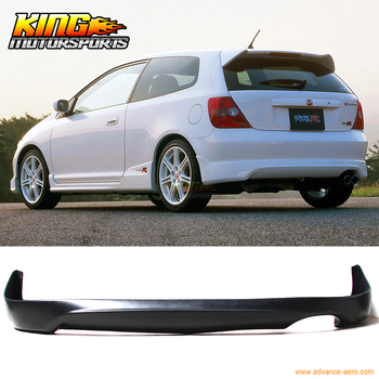 Fit For 02-05 Honda Civic SI HB T-R Style Rear Bumper Lip - Polyurethane (PU)