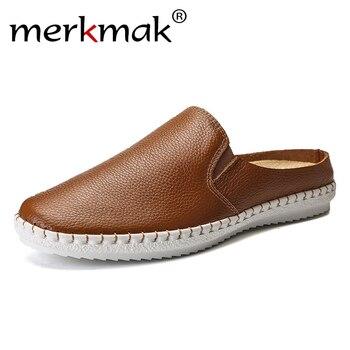 Merkmak hombres zapatilla 2019 nuevos hombres de cuero de alta calidad transpirable pisos de verano zapatos de moda Zapatos de sólido de deslizamiento para exterior zapatos