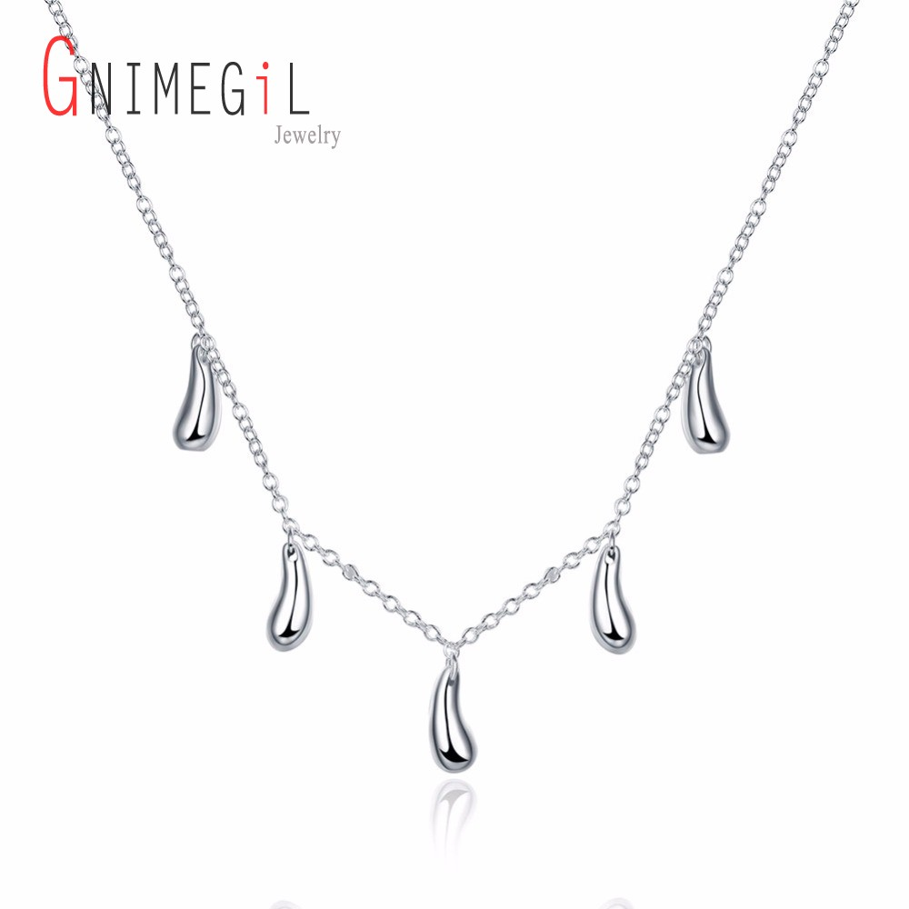 GNIMEGIL New 2017 wholesale silver plated necklaces