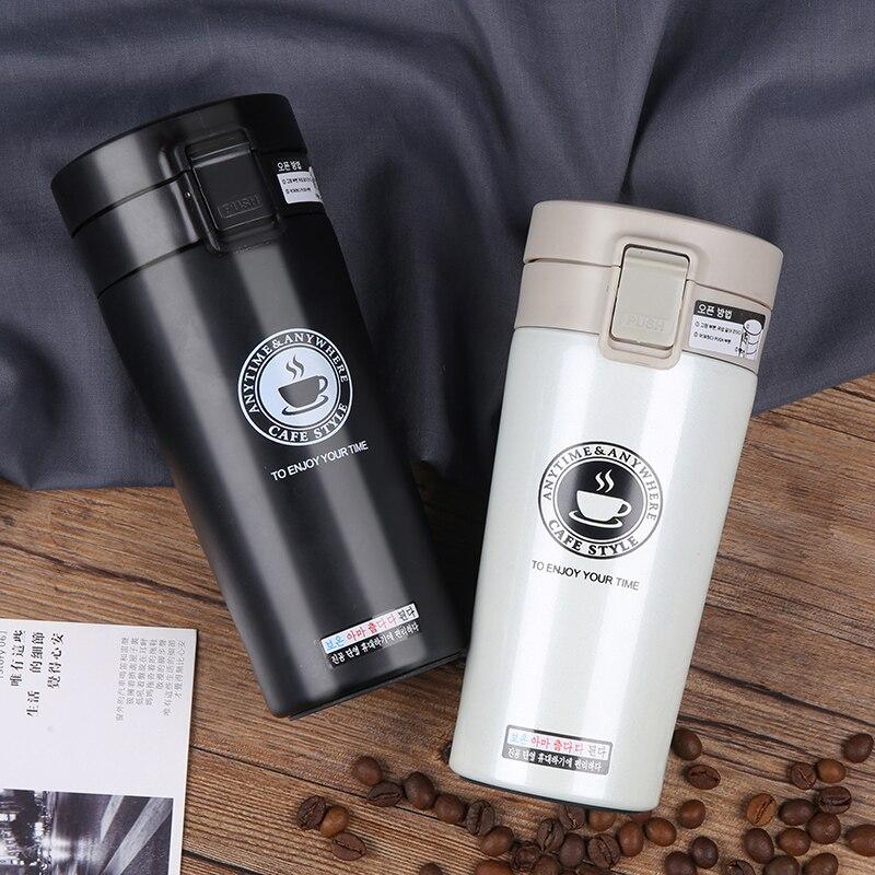 Caliente de calidad de acero inoxidable de doble pared de vacío frascos 380 Ml coche Thermo taza de café té taza de viaje Thermol de Thermocup