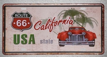1 pc Route 66 California USA United States cars plaques shop store Tin Plates Signs wall Decoration Metal Art Vintage Poster