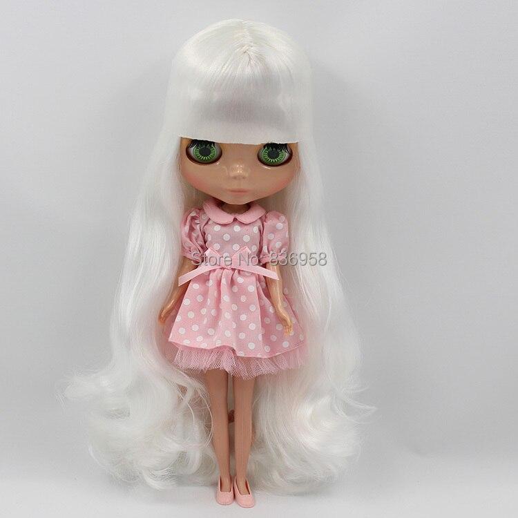 long curly hair white hair black dark tan suitable for DIY nude doll 136