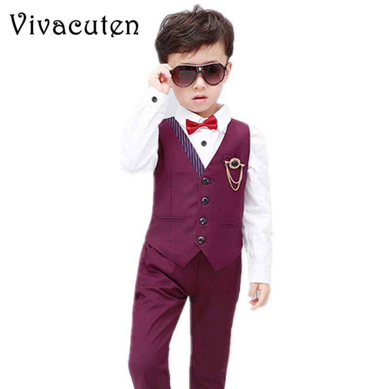 91e6109544163 Boys Fashion Short Suits Vest Pants Set Kids Slim Fit 2pcs Suit Set ...