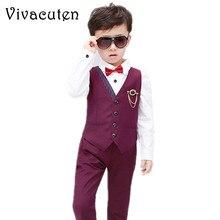 f01ca9f8d Niños de moda trajes cortos chaleco pantalones conjunto niños Slim Fit 2  piezas traje para niños Formal traje de boda la fiesta .
