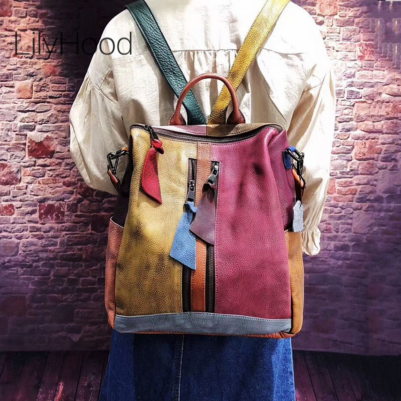 Cowhide Leather Backpack Women Casual High Quality Genuine Leather Retro Knapsack Female Vintage Big Capacity Sling