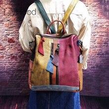 Inek derisi deri sırt çantası kadın rahat yüksek kalite hakiki deri Retro sırt çantası kadın Vintage büyük kapasiteli tek kollu çanta Packsack