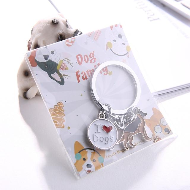 Gallois Corgi Pembroke porte-clés pour femmes hommes filles couleur argent métal Pet chien pendentif porte-clés breloque pour sac voiture porte-clés