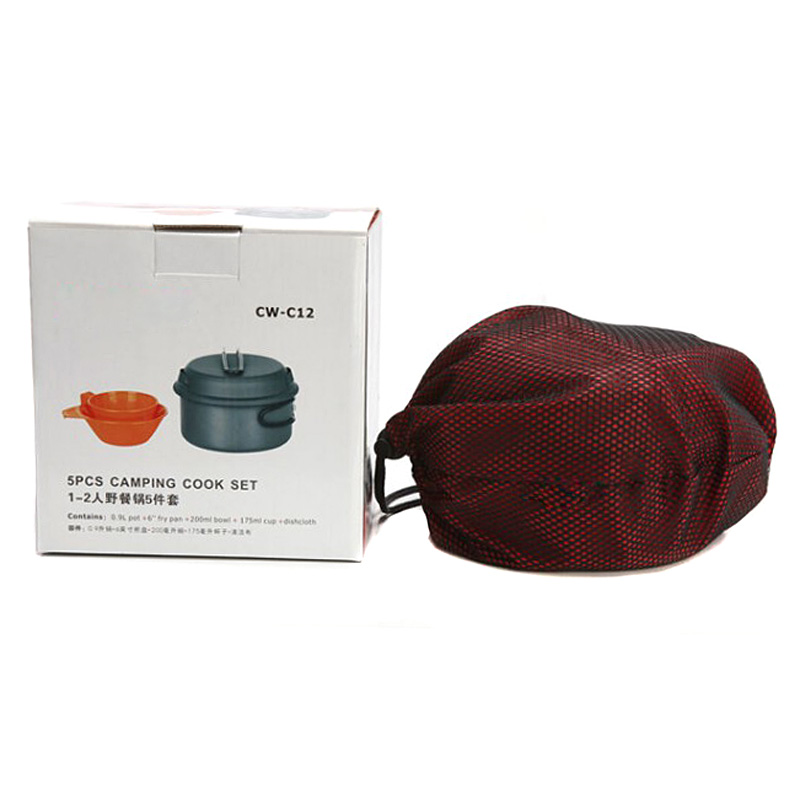 ФОТО 5Pcs/Set Outdoor Cookware Portable Cooking Pots Pans Bowls Camping Hiking Picnic non-stick Cookware VEP02 T18 0.5