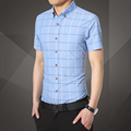 New hot spring and summer men's fashion casual plaid shirt business shirts Free Shipping