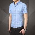 Nuevo caliente de moda de primavera y verano de los hombres camisa a cuadros informal de negocios shirts Envío Gratis