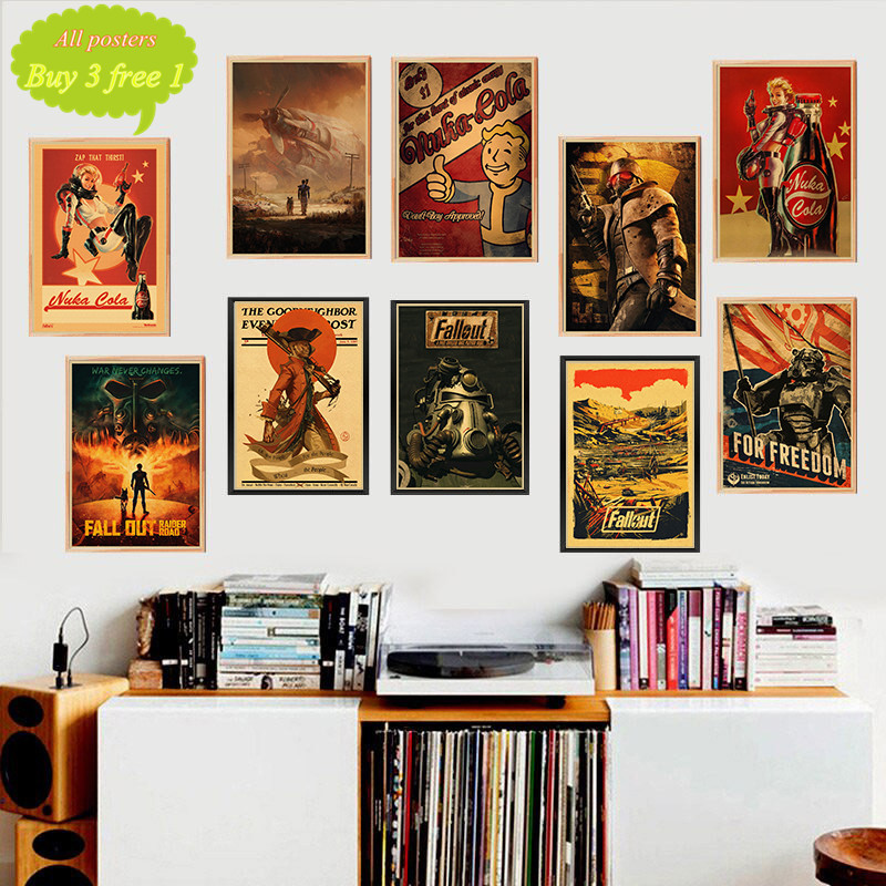 Fallout Game Poster Bar Kids Room Home Decor Game Drawing Retro Kraft Paper Wall Sticker Decoration Wall Decals image