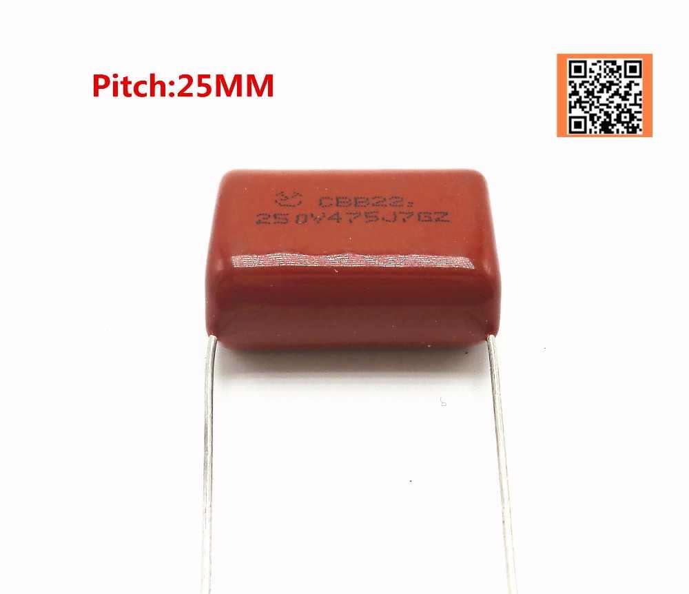 10pcs//lot 250V 2.2UF 2200NF 225J Pitch 20mm 4.7UF 4700NF 475J Pitch 25mm 250V 5/% DIP CBB Polypropylene film capacitor,2.2UF