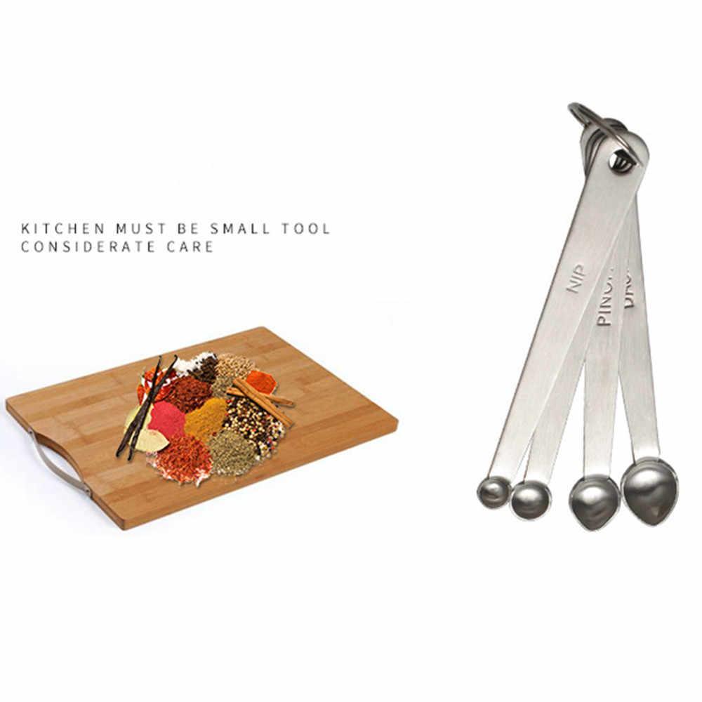 4 قطع الفولاذ المقاوم للصدأ التوابل قياس ملاعق الخبز ملعقة المطبخ طباخ أدوات البضاعة ل المطبخ اكسسوارات المطبخ