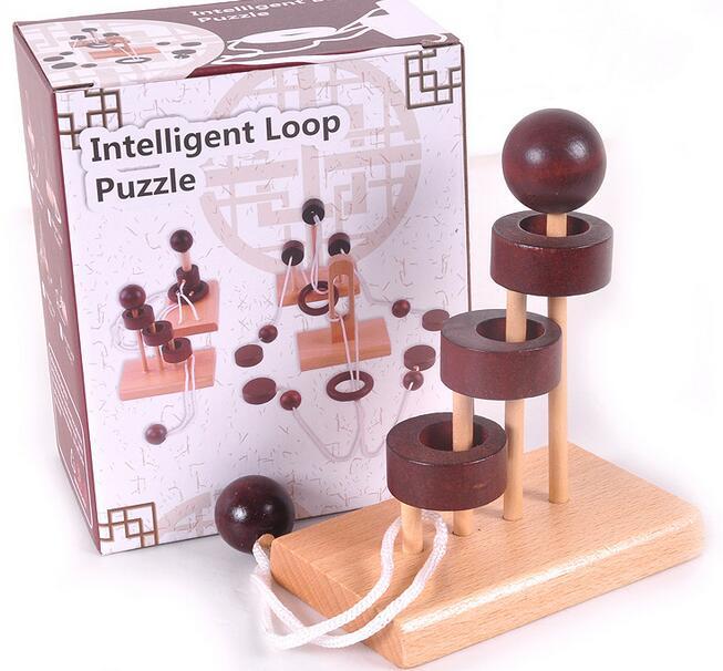 IQ Puzzle cu coarde din lemn Mind Brain teaser Rope Puzzles Jucarii pentru copii pentru adulti