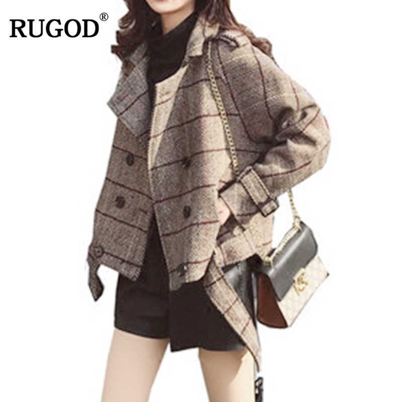 RUGOD New Arrival Plaid Jacket Women England Style Long Sleeve Coat Women Autumn Winter Warm Women Clothes chaqueta mujer