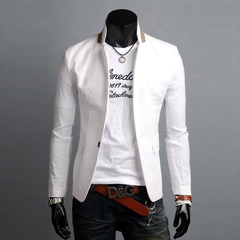 ed531d560 Un solo Botón Para Hombre Blazers Traje de Moda de Corea 2016 Nueva Llegada  Slim Fit Chaqueta de La Chaqueta Traje de Lino Ocasional Hombre en ...