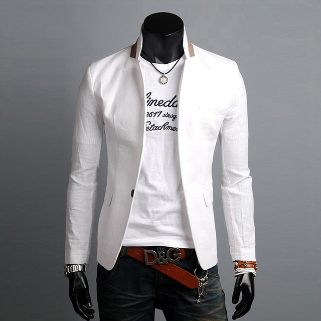 Un solo Botón Para Hombre Blazers Traje de Moda de Corea 2016 Nueva Llegada Slim Fit Chaqueta de La Chaqueta Traje de Lino Ocasional Hombre