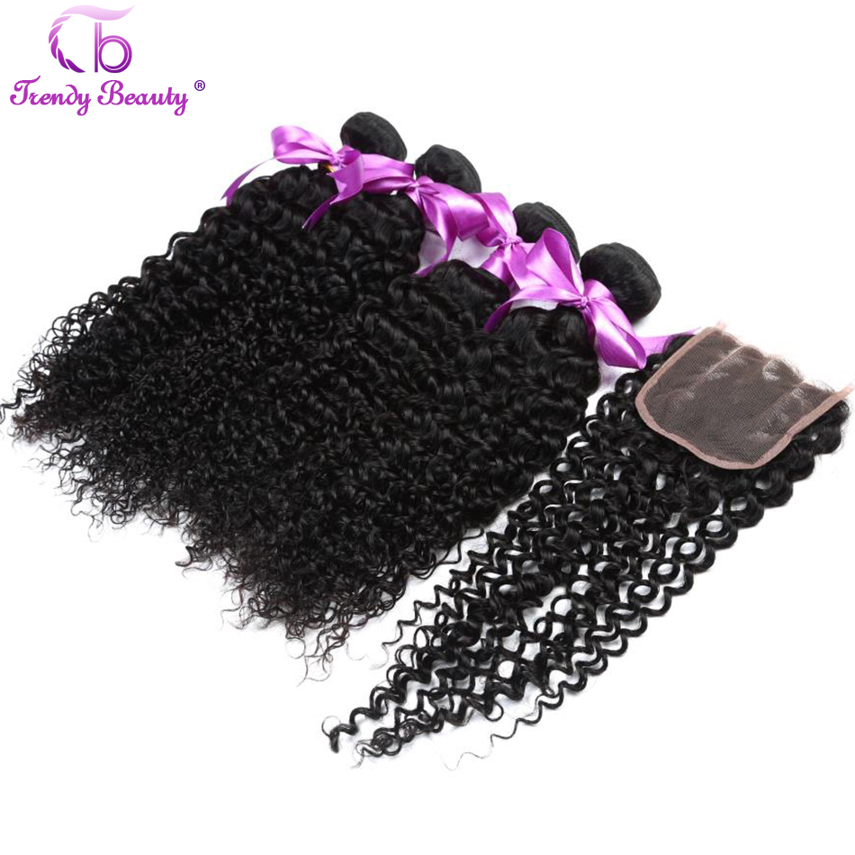 Brazilian Kinky Curly Human Hair Extensions 4 Bundles With Lace Closure Non-remy Hair Color #1b Free Ship Trendy Beauty 5pcs/lot