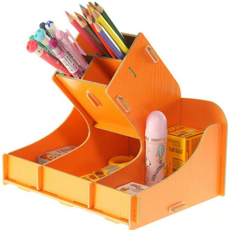 цены Fashion DIY desk storage box storage bag pen container Multi-function sundry woodiness storage box