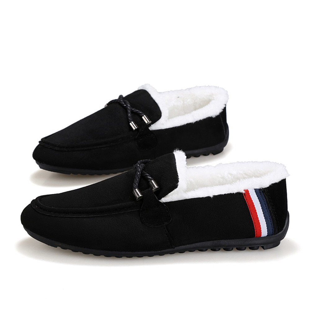 Cotton Winter Bow Tie Men Slippers Soft Keep Warm Solid Plush Home Blue Black Shoes With Fur Cotton Padded Shoes in Men 39 s Casual Shoes from Shoes