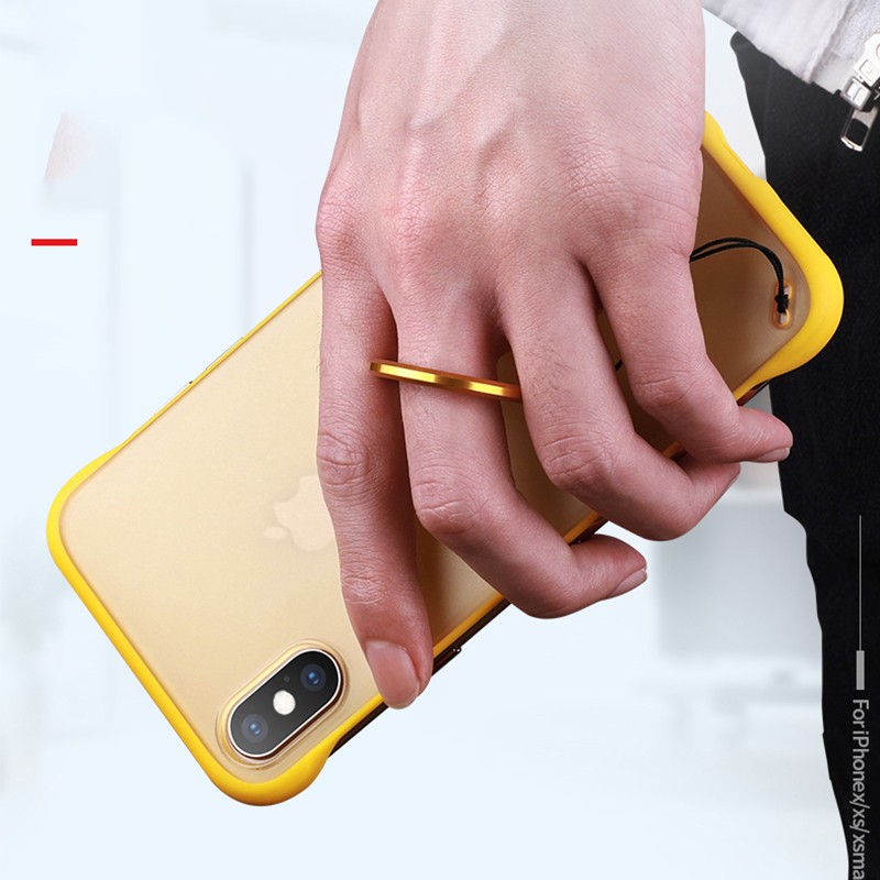 Luxury Frameless Ring Design Case For iPhone XS Max XR X Metal Hanging Rope Matte Hard PC Phone Cover For iPhone 6 6S 7 8 Plus in Fitted Cases from Cellphones Telecommunications