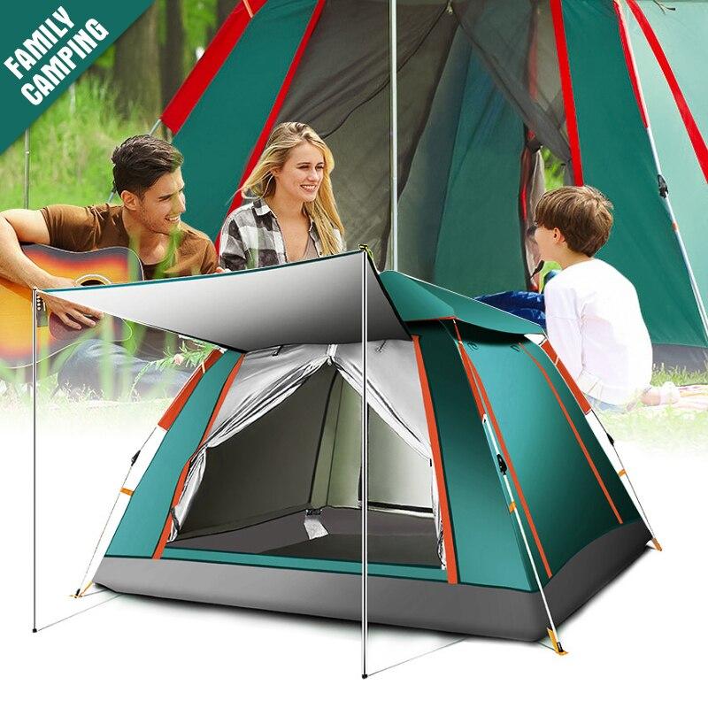 Famille Camping Tente 4-6 Personne Grand Espace Tentes Automatique Ouverture Étanche Quatre Côtés Respirant En Plein Air Tentes de Jeu Pour enfants