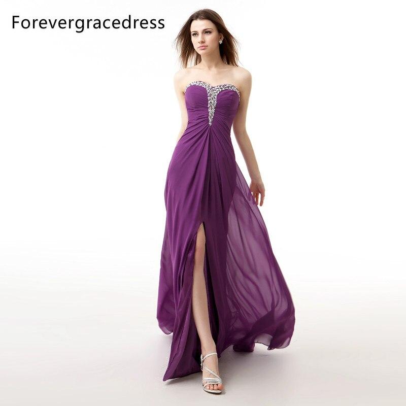 Forevergracedress Photos réelles violet longue robe de soirée Sexy sans manches en mousseline de soie perlée avec fente formelle robe de soirée grande taille