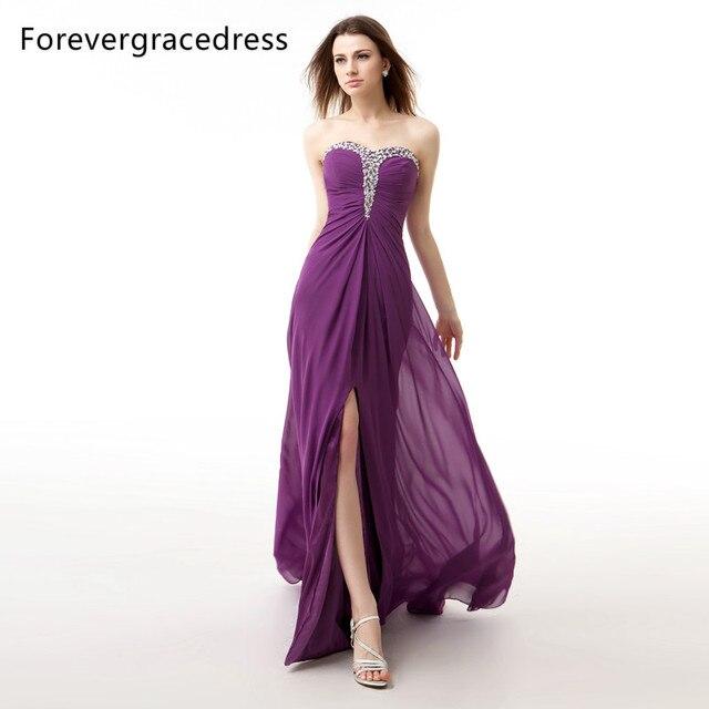Forevergracedress Tatsächlichen Fotos Lila Langes Abendkleid Sexy ...