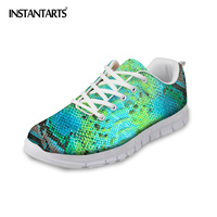 INSTANTARTS Green Snakeskin Printed Men Casual Shoes Breathable Mesh Sneakers for Man Boys Light weight Walking Flat Shoes Male
