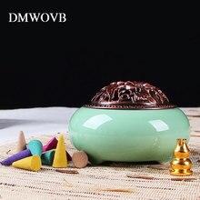 Incense burner+tower incense Ceramic Burners Portable Porcelain Censer Buddhism Holder Home Teahouse Yoga Studio