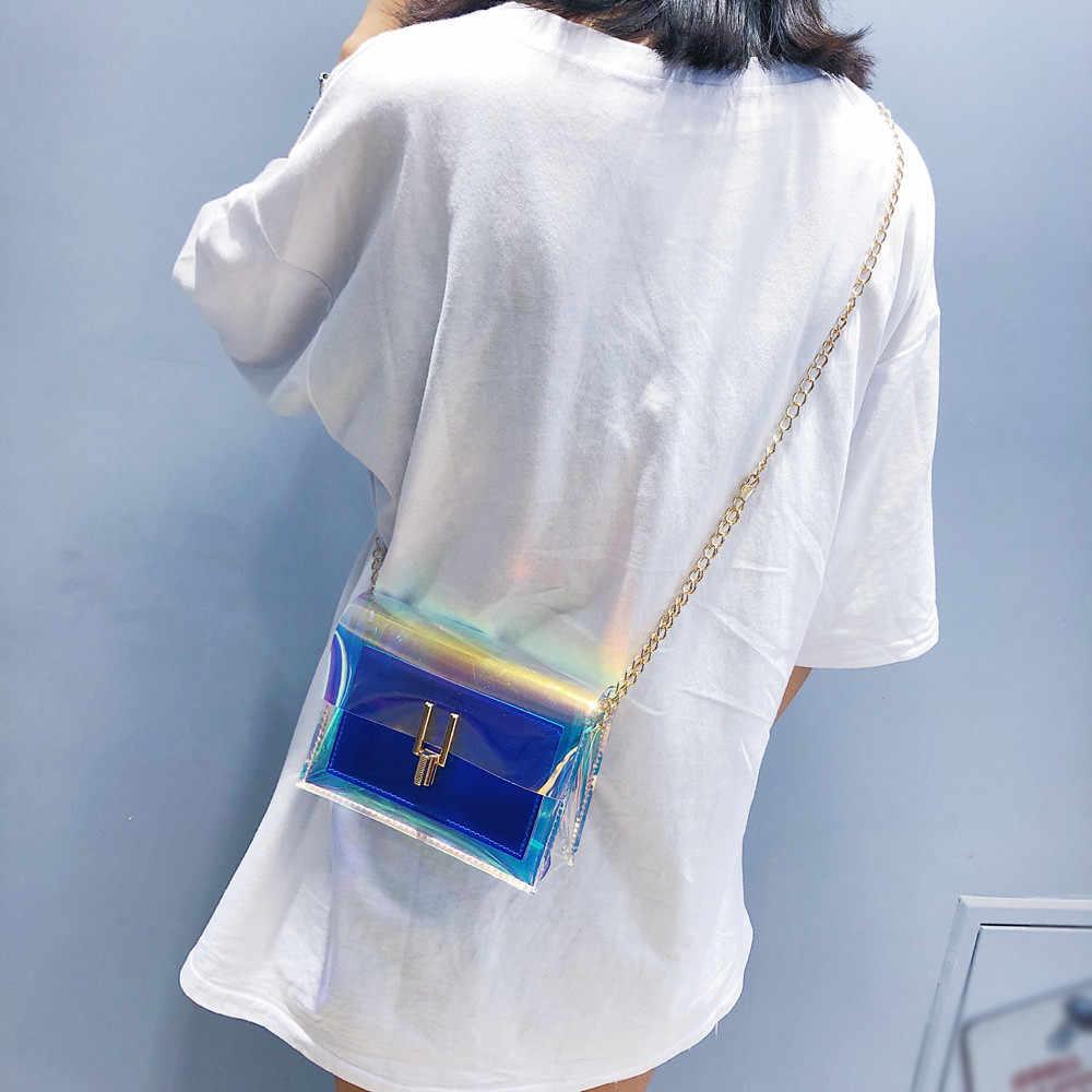 Crossbody Tassen voor Vrouwen 2019 Laser Transparante Zakken Mode Vrouwen Koreaanse Stijl Schoudertas Messenger PVC Waterdichte Strandtas