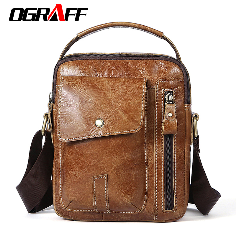 OGRAFF Small Men's Bag Oil Leather Messenger Bag Men Shoulder Bags Genuine Leather Man Crossbody Bags Male Handbags Vintage ograff genuine leather men bag handbags briefcases shoulder bags laptop tote bag men crossbody messenger bags handbags designer