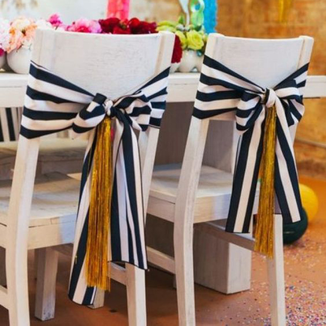 8pcs 7 X 75 Black And White Striped Chair Sashes For Wedding Party
