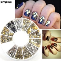 Wsryxxsc Nail Art Décor Rose Or Rivet Goujons À Ongles Perle Paillettes Triangle Étoiles Mix DIY