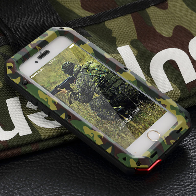 Metal Extreme Shockproof Army Camo Camouflage Military Heavy Duty Tempered Glass Cover Case for iPhone 4