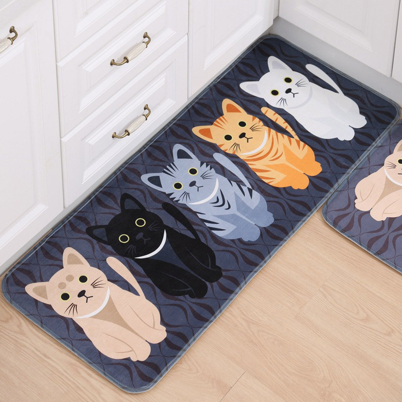 Cat Kitchen Floor Mat Anti-Slip Tapete Welcome Floor Mats Rugs for Kitchen Cat Printed Bathroom Carpet Doormat Living Room