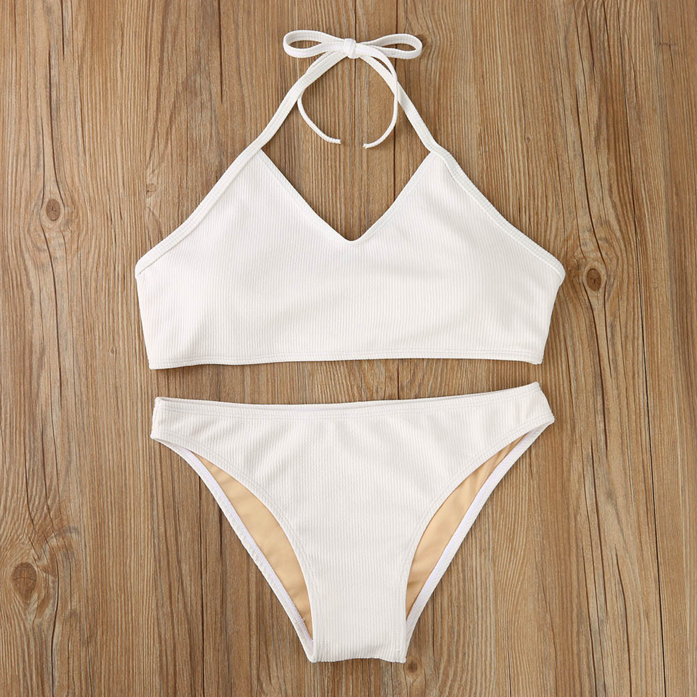 Solid White Women Bandage Push-up Padded Bra Bikini Set Off-shoulder Low Waist Swimsuit Bandages Vest Swimwear Bathingsuit