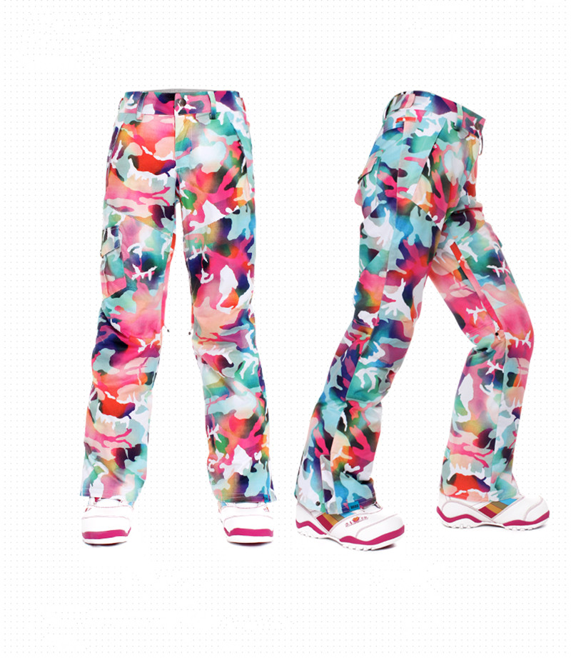 Gsou Snow womens camouflage ski pants ladies snowboarding pants Custom Patterned Ski Pants