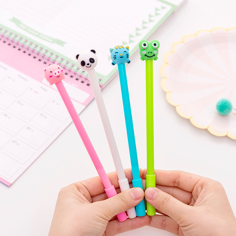 40 pcs Cute inflatable animal neutral pen 0.5 black student neutral pen-in Gel Pens from Office & School Supplies