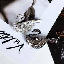 Small fresh Rhinestone zircon Hair Barrette Hair Clip Hairpin Girls Shining Swan Crystal Hair Accessories Women Headdress 1pcs