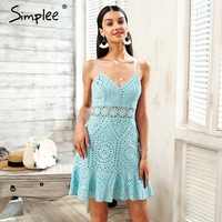 Simplee Strap Hollow Out Lace Dress Women Cotton Embroidery Casual Dress Party 2018 Short Summer Dress